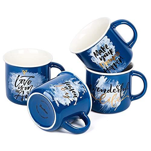 Bruntmor Set of 4 Ceramic Enamel Mugs, Best Gift Idea, Inspirational Coffee Mug Set Blue Colors With Motivational Quotes Coffee/Tea Mug Set 13 oz, Valentine Day Gifts