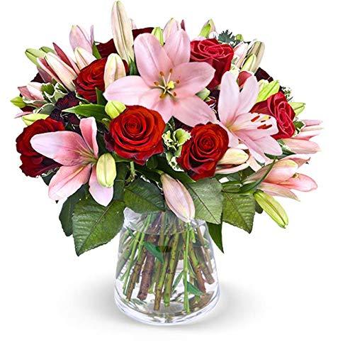 Blumenstrauß Lilientraum, Lilien mit exotischem Duft, roten Rosen, 25-30 Blüten, Schnittblumen, Blumenversand, gratis Blumenvase, 7-Tage-Frischegarantie, versandkostenfrei bestellen