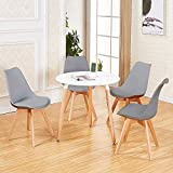 DORAFAIR Pack de 4 Sillas & Mesa, Juego de sillas de Comedor,Comedor de diseño nórdico, Gris