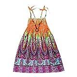 Moneycom Tenues Ete Jumpsuit Jupe Anniversaire Tulle Chic Ceremonie Mariage Infant Kids Fille Baby Clothes Vestidos Floral Robe de Sangles de Plage Bohème Orange(6-7 Ans)