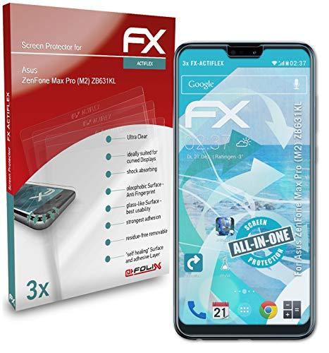 atFolix Schutzfolie kompatibel mit Asus ZenFone Max Pro (M2) ZB631KL Folie, ultraklare & Flexible FX Bildschirmschutzfolie (3X)