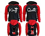 King and Queen Hoodies for Couples, Matching Couple Hoodies, His and Her Hoodies Black - Red Man Medium - Woman Medium