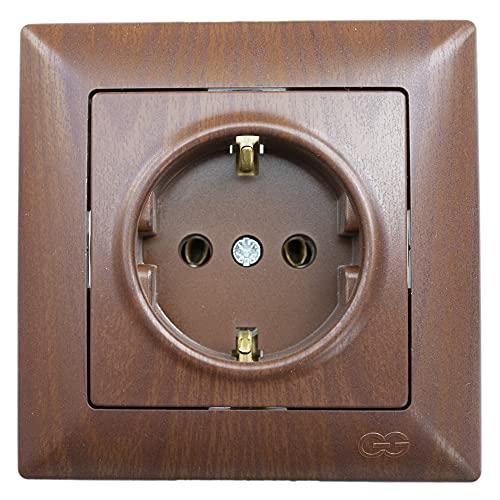 Gunsan Visage - Enchufe con protección de contacto empotrado, imitación de madera de nogal