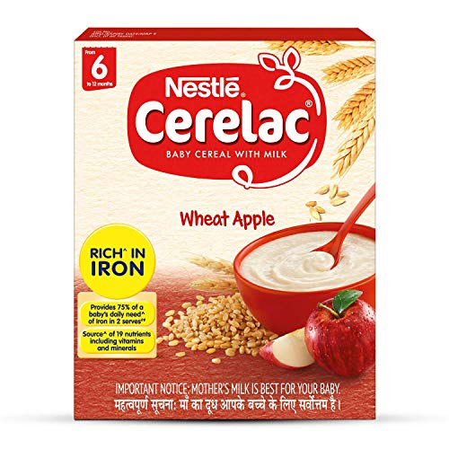 Nestle CERELAC Baby Cereal with Milk, Wheat Apple – From 6 Months, 300g Bag-In-Box Pack