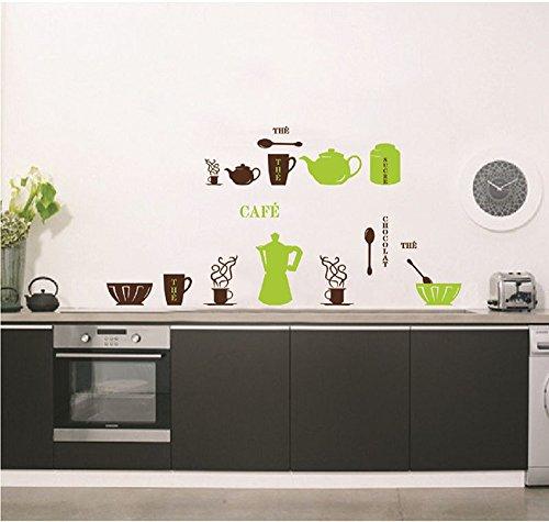 ufengke Vajilla Utensilios de Cocina Personalizado Pegatinas de Pared, Tetera Tazas Cuencos y Termos Etiquetas de la Pared/Murales para Cocina Comedor