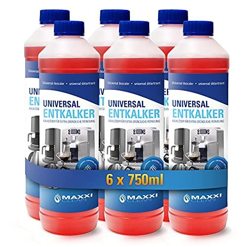 6x 750ml Entkalker, Kalklöser und Reinigungsmittel zur Reinigung für Kaffeevollautomaten, Kaffeemaschinen, Bügeleisen und Wasserkocher