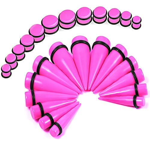 BodyJ4You 24PC Big Gauges Kit Ear Stretching 00G-20mm Pink Acrylic Tapers Plugs Piercing Set