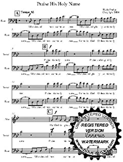 Praise His Holy Name A capella  Choral Sheet Music! Acappella Original piece of music written by Wade Phelps for SATB choir. Very powerful and heart pumping tones. 5 copies of the song included with purchase