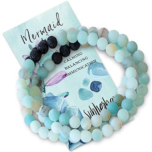 Subherban Aromatherapy Bracelet Earrings MERMAID Lava Stone Jewelry (Bracelet)