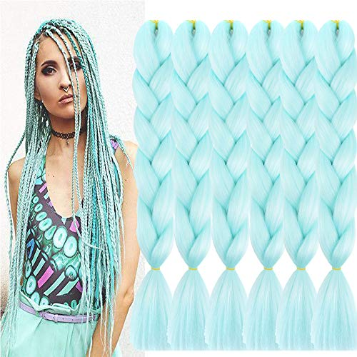 SHUOHAN 6 Packs Ombre Jumbo Braiding Hair Extensions 24 Inch High Temperature Synthetic Fiber Hair Extensions for Braiding (Light Green)