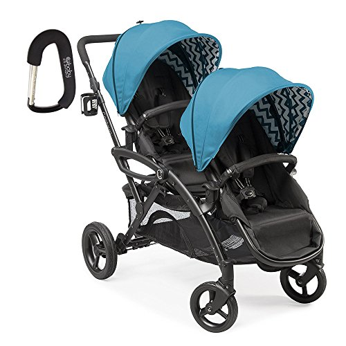 2017 Contours Option Elite Tandem Double Stroller with Free Baby Gear XPO Stroller Hook (Laguna Blue)