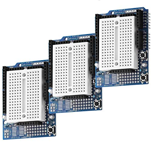 AZDelivery 3 x Prototypage Prototype Shield bouclier Mini Breadboard carte d'expérimentation pour Arduino UNO R3