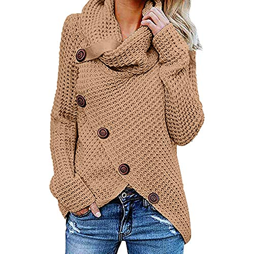 Hanomes Damen Pullover, Damen Button Langarm Pullover Sweatshirt Pullover Tops Bluse Shirt KH/XXL