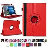 NAmobile Tablet Tasche kompatibel für Blaupunkt Atlantis A10.G402 A10.G403 Hülle Schutzhülle Tablettasche mit Standfunktion 360 Crad drehbar Universal Tablethülle, Farben:Rot