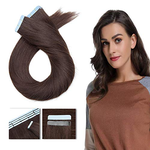 Extension Adhesive Naturel 40 Pcs Rajout Vrai Cheveux Humain Naturel Adhesif Bande Adhesive Remy Hair Tape in - #02 Brun - 30CM