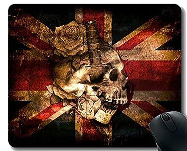 Yanteng Personalizado Rectángulo Antideslizante de Goma Mousepad, cráneo y Tibias Cruzadas Cuchillo cráneo Gaming Mouse Pad