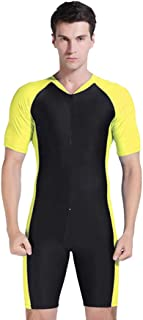 CHLZYD Man One Piece Short Sleeve 2mm Neoprene Conjoined Suit Thin Wetsuit New Surfing Diving Snorkeling Yellow