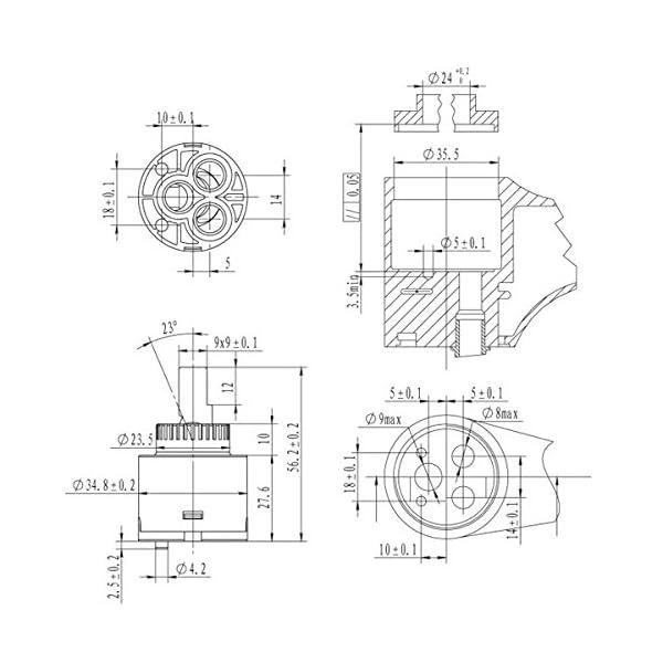 Ownace Cartucho de repuesto interior de plástico con disco de cerámica de 35mm para grifo monomando de baño, lavabo, ducha, 2 unidades, plástico, 35 mm