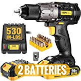 Cordless Drill, 20V Drill Driver 2x2000mAh Batteries, 530 In-lbs Torque, 24+1...