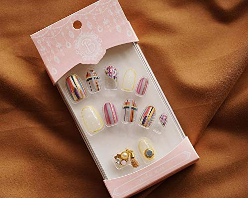 CLOAAE Limited import fake nails cute Japanese round false nails with magnetic pendant decoration bride full nail tips