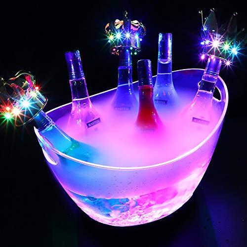 WLKQ Secchiello per Il Ghiaccio, Portaghiaccio LED Cambio Colore, Vasca per Bevande Luminoso Isolato Bottiglia di Vino Refrigerata Luci del Refrigeratore Bar Discoteca Party Drink Cooler