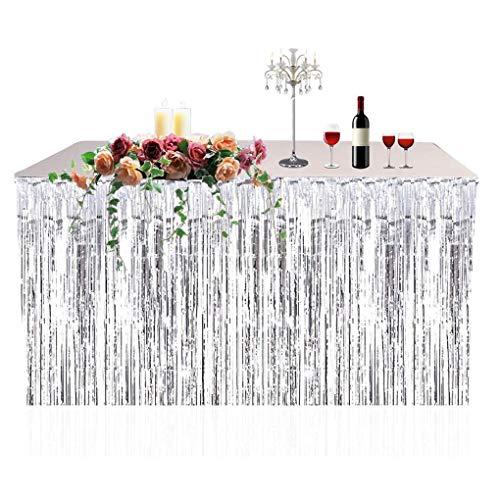 FloralLive Metallic Fringe Foil Table Rock Tinsel Tabelle Vorhang für Luau Party-Geburtstags-Sommer-Jahrestag Weihnachten Tischdekoration