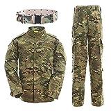 QMFIVE Uniformes tácticos, Camuflaje Camo Camo Combat BDU Chaqueta Camisa y Pantalones Uniforme Juego de Guerra Ejército Paintball Militar Airsoft Caza Disparo Camo