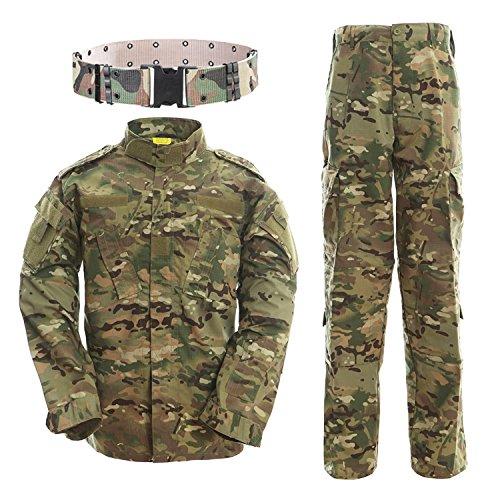 Uniformes tácticos, QMFIVE Camuflaje Camo Camo Combat BDU Chaqueta Camisa y Pantalones Uniforme Juego de Guerra Ejército Paintball Militar Airsoft Caza Disparo Camo