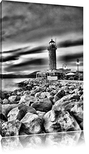 Pixxprint Leuchtturm bei Ebbe als Leinwandbild | Größe: 100x70 cm | Wandbild | Kunstdruck | fertig bespannt