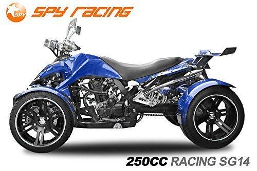 Nitro Motors Spy 250cc Racing Quad14 2 Pers. Autobahn Zulassung 4-Gang Manuell + Rückwärtsgang Quad ATV Racing (Metallic Blau mit Schwarzen Akzenten)