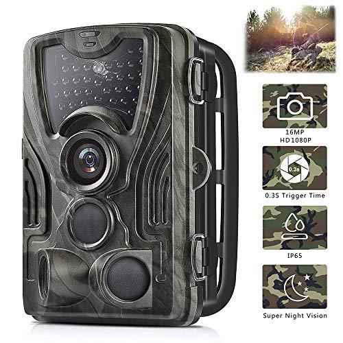 NZYMD 16MP 1080P HD Fotocamera da Caccia Fototrappola, IP65 Impermeabile, 36pcs 940nm IR LEDs Invisibili Visione Notturna e 0.3s Tempo di Attivazione.