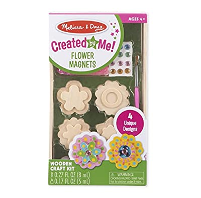 Melissa & Doug Created by Me! Flower Wooden Magnets Craft Kit - The Original (4 Designs, 4 Paints, Stickers, Glitter Glue, Great Gift for Girls and Boys - Best for 4, 5, 6 Year Olds and Up)
