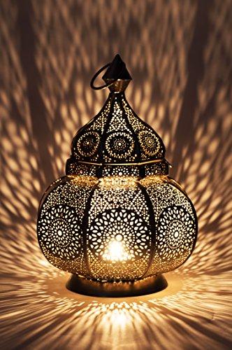 Orientalische Laterne aus Metall Ziva Silber 30cm | orientalisches Marokkanisches Windlicht Gartenwindlicht | Marokkanische Metalllaterne für draußen als Gartenlaterne, oder Innen als Tischlaterne