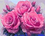 A4サイズ 3輪の美しいバラ ダイヤモンドアート /全面貼り付けタイプ/四角型(スクエア)/ビーズアート/モザイクアート/手芸キット
