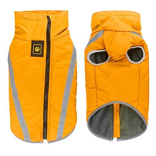 Idepet Wasserdichter Hundemantel Winterwarme Jacke, Outdoor Sport wasserdichte Hundekleidung Outfit Weste für kleine mittelgroße Hunde mit Gurtloch