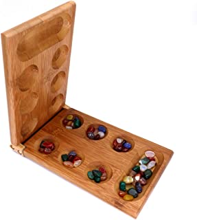 ZAILHWK Double Playing Game, Mancala, Sowing Game, Ancient African Chess Classic Stone Chess, Mancala Board Game Folding Wooden Chess Set for Adults Children Strategy Game Toys.