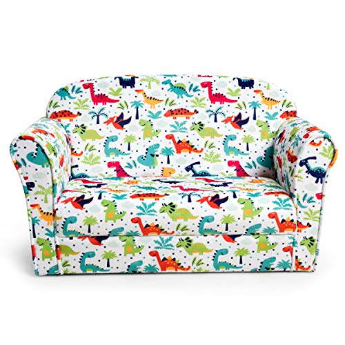 Costzon Kids Sofa, Double Seat Children's Sofa w/Dinosaur Pattern, Toddler Furniture Armrest Chair for Bedroom, Living Room, Large Kids Couch w/Sturdy Wood Construction & Comfortable Back, Multicolor