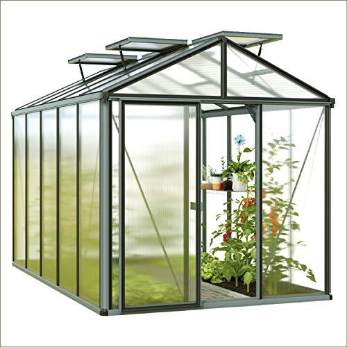 GFP Diamas 23 Premium Gewächshaus Glashaus mit Fundament - 236x381cm, formstabil und witterungsbeständig auch bei Hagel mit 16 mm Doppelstegplatten, Verschiedene Sets vorhanden - Made in Austria