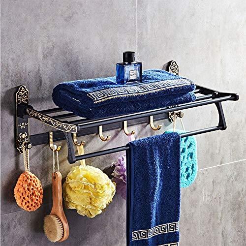 DKee Estante de baño Negro Europeo Retro Retro Toallero Plegable Toallero Baño Estante Espacio Aluminio Baño Hardware Colgante Barra De Toalla