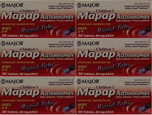 Children's Pain Reliever Acetaminophen 80 mg Ages 2-6 Generic for Tylenol Chewable Grape Flavor 30 Tabs per Box PACK osf 6 Total 180 Tablets