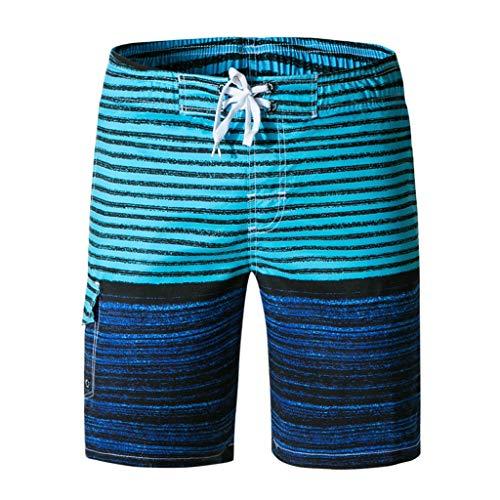 Deelin Zomerstrandbroek voor heren, gestreept, surfshorts, sneldrogend, elastisch, met trekkoord, korte broek