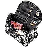 Dylandy - Beauty case grande, ideale per trucchi e cosmetici, motivo zebrato, in tela, da viaggio, per donne e ragazze