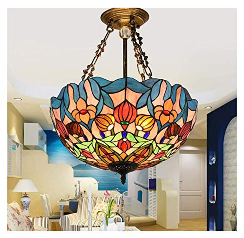 Lámpara de luz colgante Iluminación Tiffany-Style Victorian Inverted Ceiling Stained Glass Shade,...