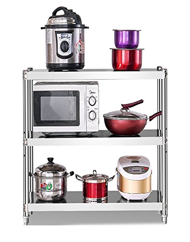 Xuping shop Estante de cocina de 3 capas de múltiples capas de acero inoxidable, estantes de microondas, hornos de almacenamiento, estantes de escombros de espesamiento (tamaño: 60 x 40 x 80 cm)