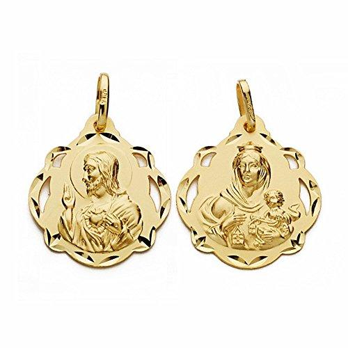 Medalla oro 18k escapulario 23mm Virgen Carmen Corazón Jesús [AA2463]