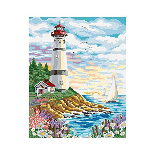 Bolsa de pintura de pintura al óleo Por números dibujar Faro de pintura para adultos Padre e hijo dibujar juntos 40x50cm Con marco