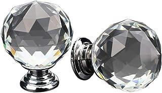Oyfel Perilla De Puerta Tiradores Pomo de Cristal Claro Vidrio Cristalino Forma De Diamante Transparente Armario Mueble Ca...