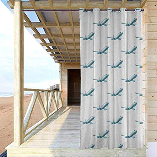 Airplane Extra Wide Curtains for Pergola Sun Room Retro Pop Art Style Air Transport Travel Voyage Theme Fast Engine Technology Pale Blue White