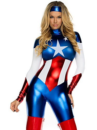 Forplay Women's Petite Star Spangled Hero Catsuit with Stripe Waist and Headband, Royal Blue, Large/X-Large