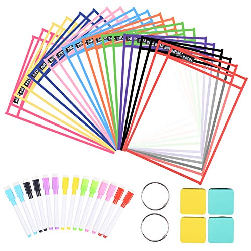 INFUN Dry Erase Pockets - 20 Pack,Oversized Reusable Dry Erase Sleeves, Multicolored Dry Erase Pocket Sleeves with 20 Markers 4 Eraser 2 Metal Rings for Teachers Kids and School Supplies